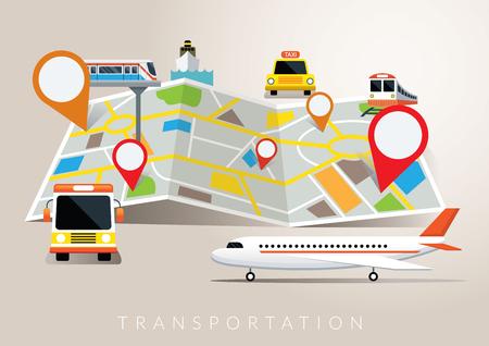 Map with Mode of Transport, Plane, Train, Boat, Bus, Travel, Destination