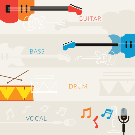 drum and bass: Music Instruments Objects Banner Background, Guitar, Bass, Drum, Vocal