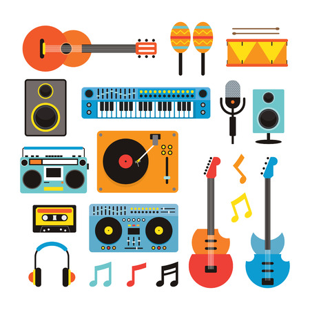 Music Instruments Objects Set, Flat Design Symbol and Icons Vector