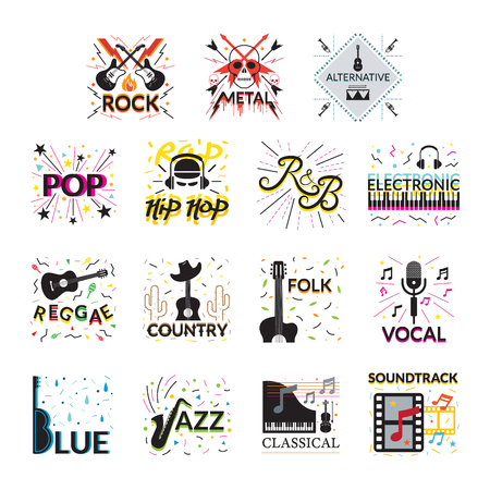 Music Genres Signs and Symbols, Vector Illustration, Design Element