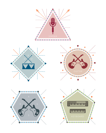 Musician Label and Badge with Icons, Geometric Linear Style Illustration
