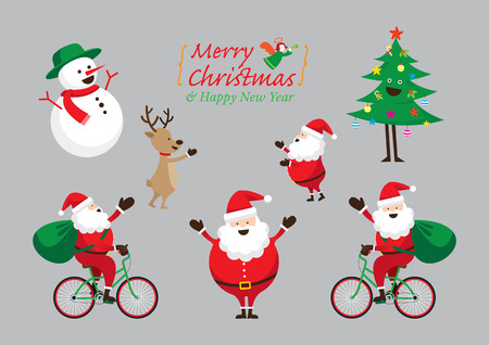 Santa Claus, Snowman, Tree, Reindeer 일러스트
