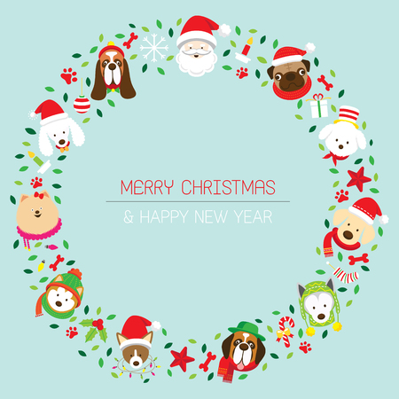Christmas Wreath with Various Dog Breeds