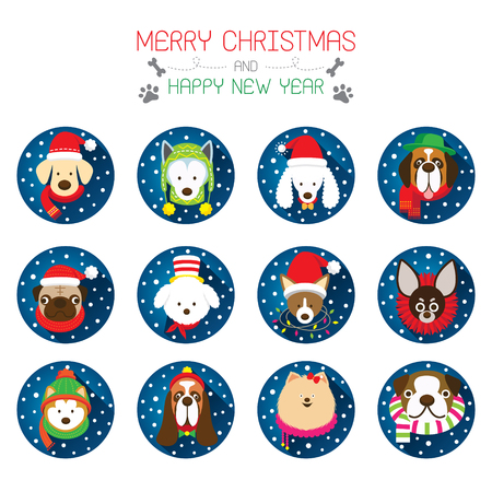 breeds: Flat Icons Set: : Christmas, Various Dog Breeds