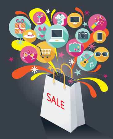 Shopping Bag with Sale Text and Various Icons Vectores