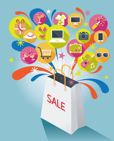 Shopping Bag with Sale Text and Various Icons