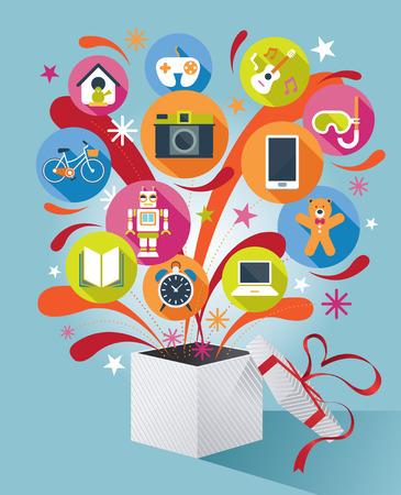 Geschenk-Box mit Geschenk-Icons Vektorgrafik