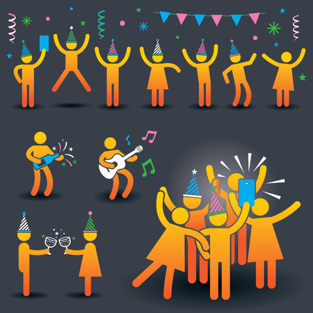 fun activity: People Party Symbols Illustration