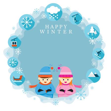 kids at the ski lift: Winter Season, Snowing