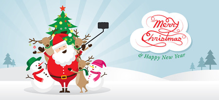 Christmas, Santa Claus and Friends Selfie, Snow Scene, Snowman, Snowgirl, Reindeer, Pine Tree. Happy New Year