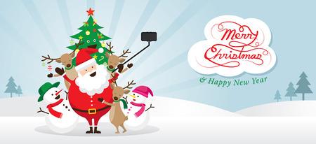 Kerstmis, kerstman en vrienden Selfie, Sneeuwscène, Sneeuwman, Sneeuwmeisje, Rendier, Dennenboom. Gelukkig nieuwjaar