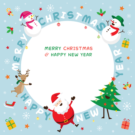 santa sleigh: Christmas Frame, Santa Claus and Friends with Lettering, Snowman, Snowgirl, Reindeer, Pine Tree. Happy New Year