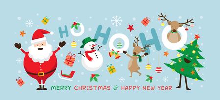 Boże Narodzenie, Święty Mikołaj Laugh Ho Ho Ho z przyjaciółmi, bałwan, renifer, sosna. Szczęśliwego Nowego Roku