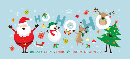 Christmas, Santa Claus Laugh Ho Ho Ho with Friends, Snowman, Reindeer, Pine Tree. Happy New Year