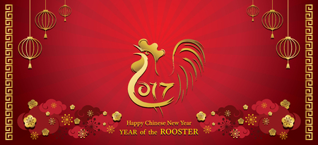 Year of Rooster, Chinese New Year, 2017, Holiday, Greeting and Celebration