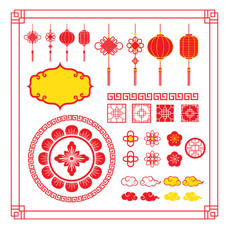 Chinese Design Elements, Ornaments, Decoration, Frame, Border, Lantern, Knot, Cloud