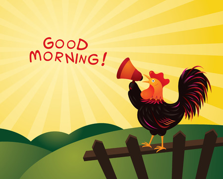 announcing: Rooster Crowing and Announcing with Megaphone, Good Morning, Fence, Farm and Hill Background