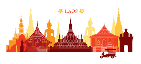 Laos Landmarks Skyline, Colourful, Cityscape, Travel and Tourist Attraction Illustration