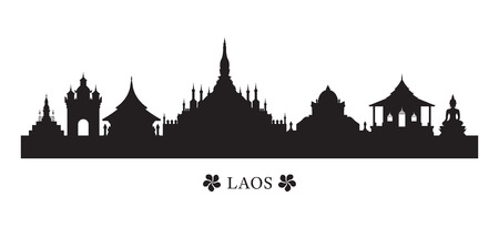 Laos Landmarks Skyline in Silhouette, Cityscape, Travel and Tourist Attraction