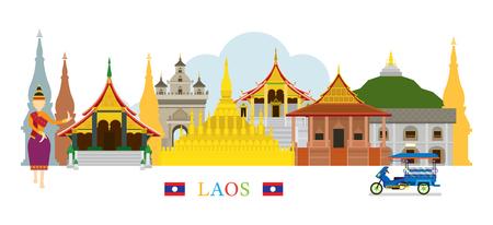 Laos Landmarks Skyline, Cityscape, Travel and Tourist Attraction