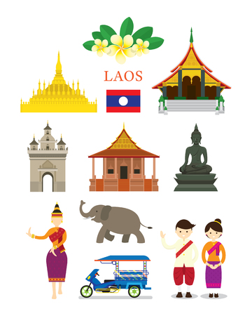 Laos Landmarks and Culture Object Set, Design Elements