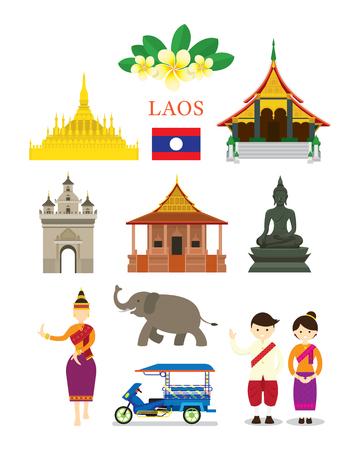 Laos Landmarks and Culture Object Set, Design Elements