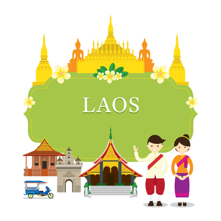 Laos Landmarks, People in Traditional Clothing, Frame, Culture, Travel and Tourist Attraction