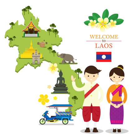 champa flower: Laos Map and Landmarks with People in Traditional Clothing, Culture, Travel and Tourist Attraction