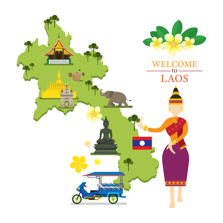 Laos Map and Landmarks with Traditional Dancer, Culture, Travel and Tourist Attraction Illusztráció