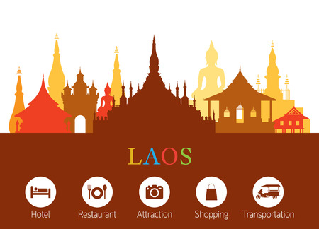 Laos Landmarks Skyline with Accommodation Icons, Cityscape, Travel and Tourist Attraction