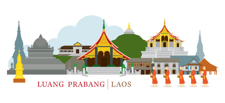 Luang Prabang, Laos, Landmarks and Monks on Alms Round. Culture, Travel and Tourist Attraction Illustration