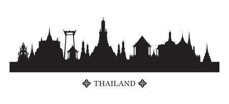 Thailand Landmarks Skyline and Silhouette, Cityscape, Travel Attraction and Background