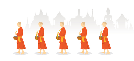 A Row of Buddhist Monks on Alms Round, Thailand Background, Traditional Culture and Travel Attraction Illustration