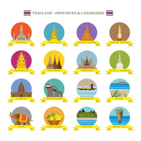 태국의 지방 명소와 아이콘, 여행 및 관광 명소, 플랫 디자인