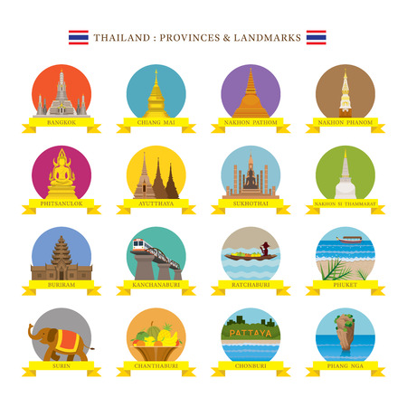 Thailand Provinces Landmarks and Icons, Travel and Tourist Attraction, Flat Design
