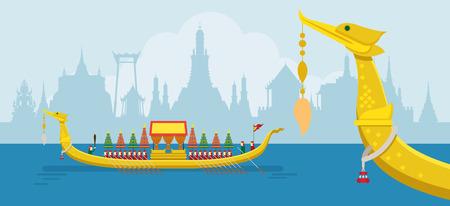 タイ王室御座船、Suphannahong、伝統文化、旅行の魅力  イラスト・ベクター素材