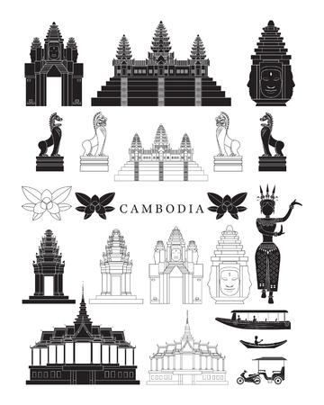 Repères du Cambodge et ensemble d'objets de culture, éléments de conception, noir et blanc, ligne et silhouette Vecteurs