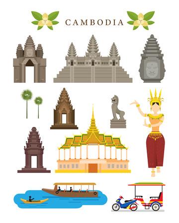 캄보디아 명소와 문화 개체 설정, 다채로운, 디자인 요소, 건축과 교통 일러스트