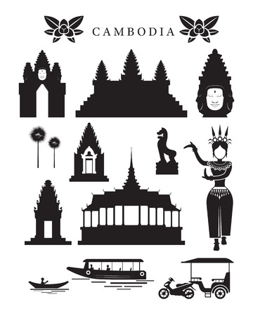 Cambodja Monumenten en cultuur Object Set, Design Elements, zwart en wit, Silhouet