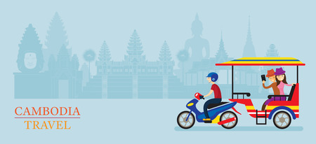 Cambodia Tuk Tuk Service for Tourist, Landmarks Background, Transportation, Travel and Tourist Attraction