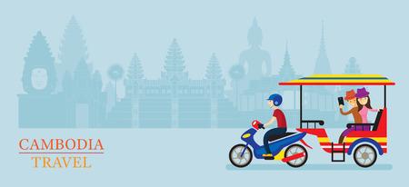 Cambodia Tuk Tuk Service for Tourist, Landmarks Background, Transportation, Travel and Tourist Attraction