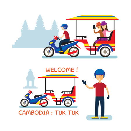 Cambodia Tuk Tuk Service for Tourist, Angkor Wat Background, Transportation, Travel and Tourist Attraction Illustration