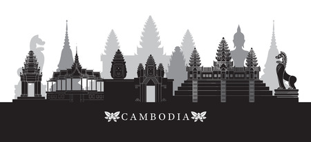 Cambodia Landmarks Skyline in Black and White, Cityscape, Travel and Tourist Attraction Illustration