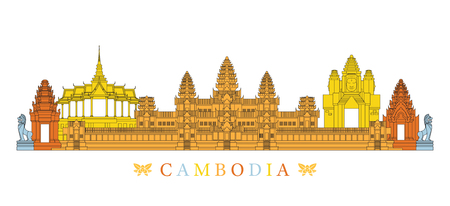 Cambodia Landmarks Skyline, Line and Colourful, Cityscape, Travel and Tourist Attraction