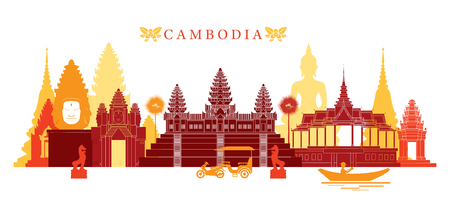 Cambodia Landmarks Skyline, Colourful, Cityscape, Travel and Tourist Attraction