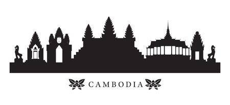 カンボジア ランドマーク スカイライン シルエット、都市の景観、旅行、観光に