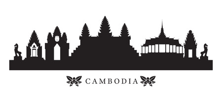 Cambodia Landmarks Skyline in Silhouette, Cityscape, Travel and Tourist Attraction Vectores