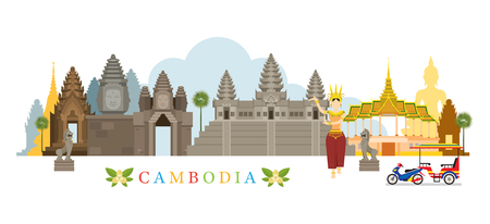 Kambodscha Sehenswürdigkeiten Skyline, Stadtansicht, Reise-und Touristenattraktion Standard-Bild - 70778991