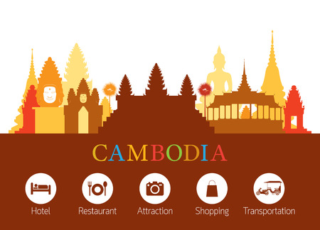 Cambodia Landmarks Skyline with Accommodation Icons, Cityscape, Travel and Tourist Attraction Vectores