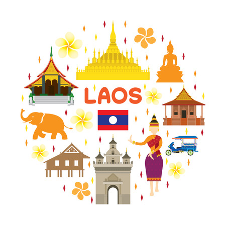 Laos Travel Attraction Label, Landmarks, Tourism and Traditional Culture